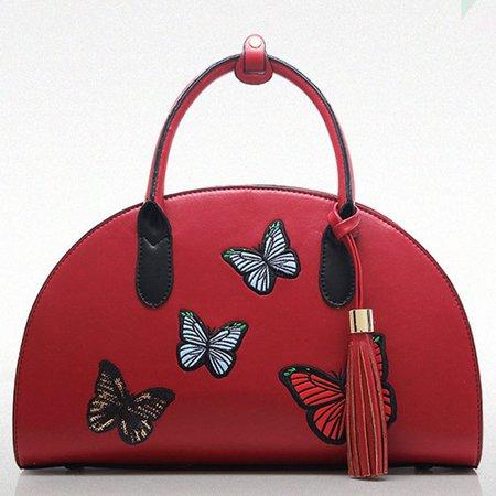 Women National Style Butterfly Printed Semicircle Handbag Crossbody Bag