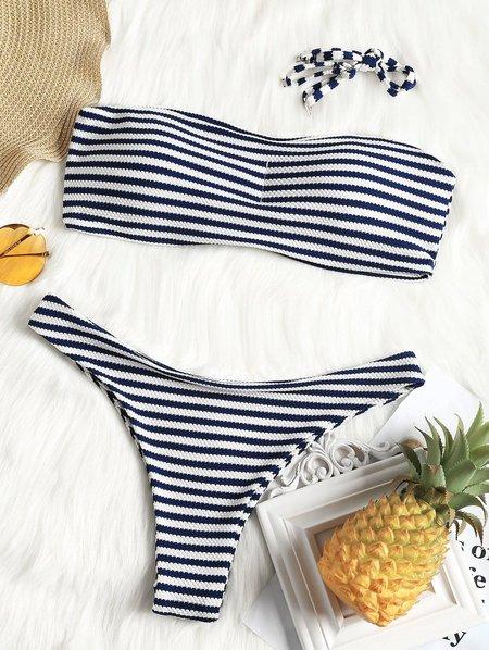 Stripes Padded Convertible Bandeau Bikini