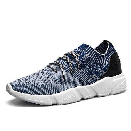 Men Strech Flyknit Fabric Breathable Light Running Shoes Sport Sneakers