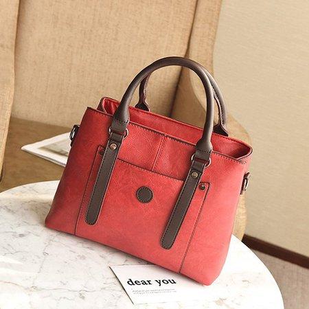 Vintage PU Leather Square Handbag Outdoor Shopping Crossbody Bag