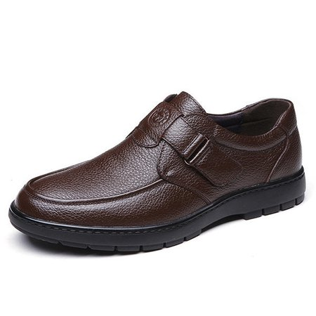 Men Comfy Soft Hook-loop Business Casual Faux Leather Shoes