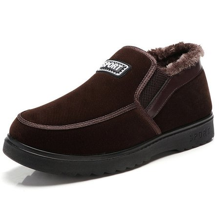 Men Old Beijing Style Plush Lining Slip On Boots