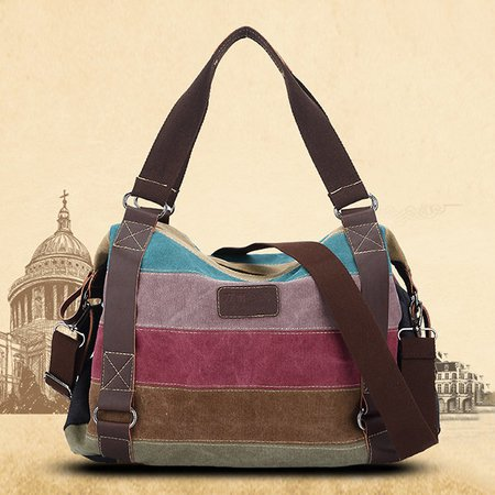 Women Vintage Stripe Colorful Canvas Handbags Shopping Shoulder Crossbody Bag