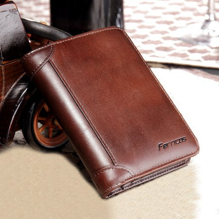 RFID Antimagnetic  Genuine Leather Vintage Tri-fold Large Capacity Short Wallet For Men