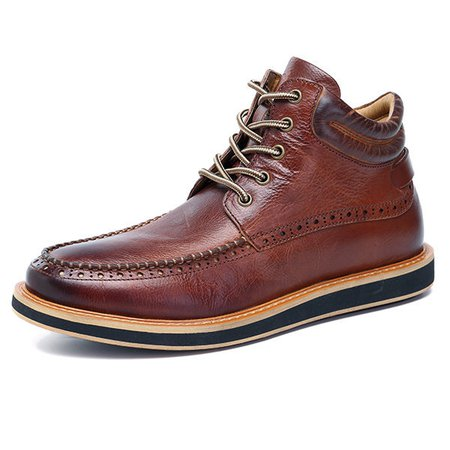 Men Faux Leather Brogue Pattern Plush Lining Lace Up Casual Boots