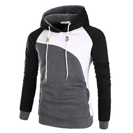 Long Sleeve Cotton Sports Color-block Hoodie