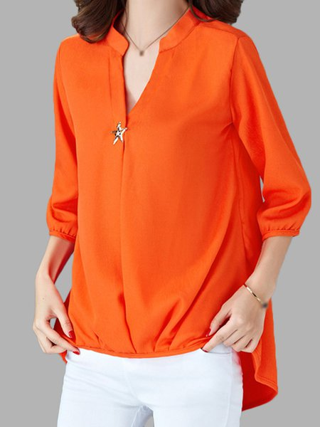 Stand Collar Chiffon 3/4 Sleeve Blouse
