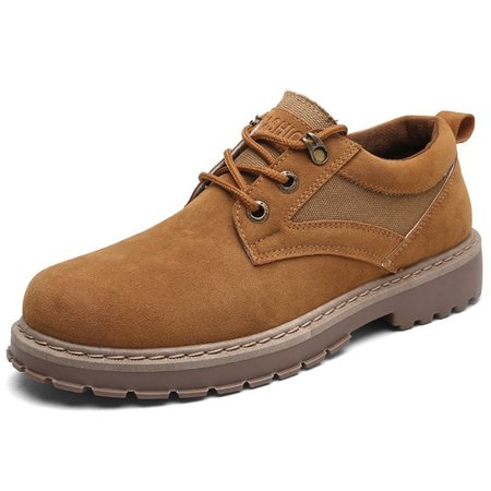 Men's Metal Eyelets Big Head Low-top Lace Up Casual Work Shoes