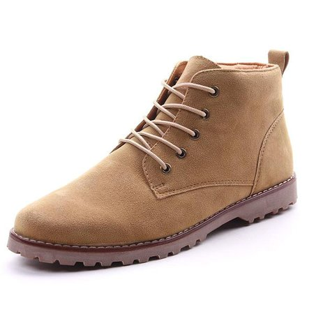 Men British Style Metal Eyelets Lace Up Ankle Casual Work Boots