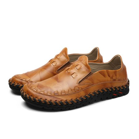 Men Casual Faux Leather Business Shoes Comfortable Round Toe Flat Shoes