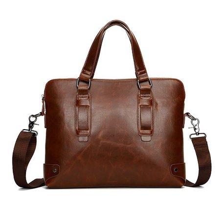 Vintage PU Faux Leather Business Handbag Crossbody Shoulder Bag Briefcase For Men