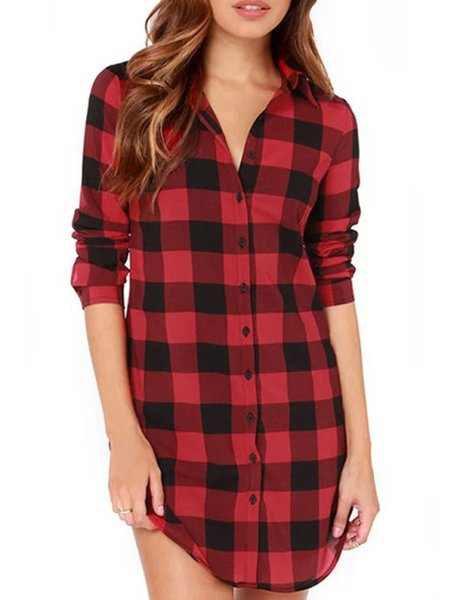 Red Checkered/Plaid Lapel Long Sleeve T-Shirt