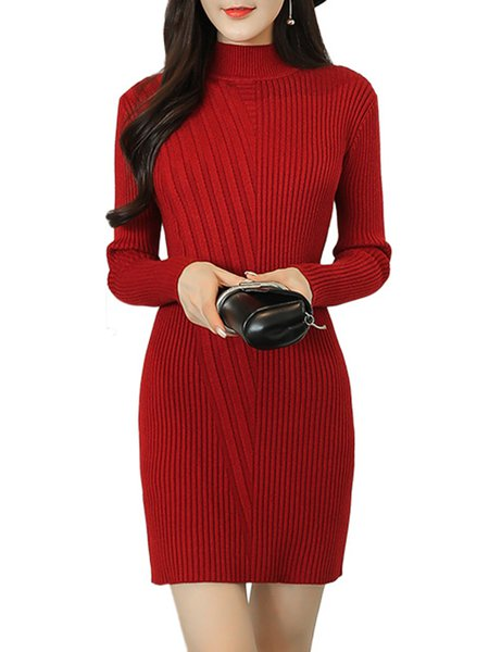 Sheath Solid Long Sleeve Knitted Ribbed Dress