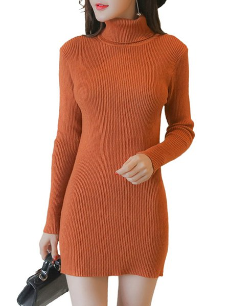 Knitted Solid Long Sleeve Turtle Neck Sweater Dress