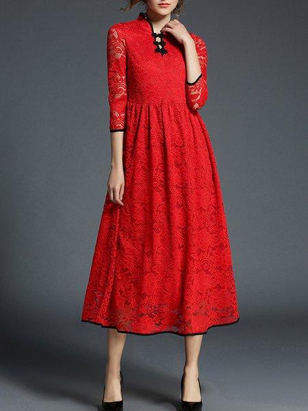 3/4 Sleeve Elegant Lace A-line Dress