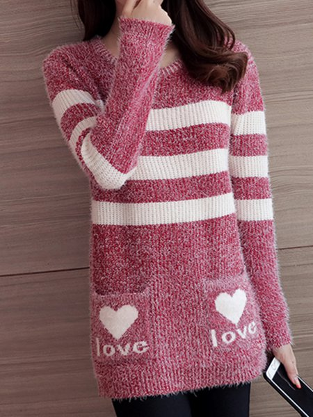 Knitted Crew Neck Casual H-line Sweater