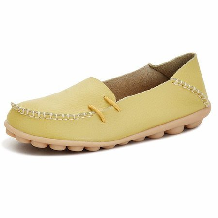 Big Size Solid Soft Sole Breathable Casual Lace Up Flat Loafer
