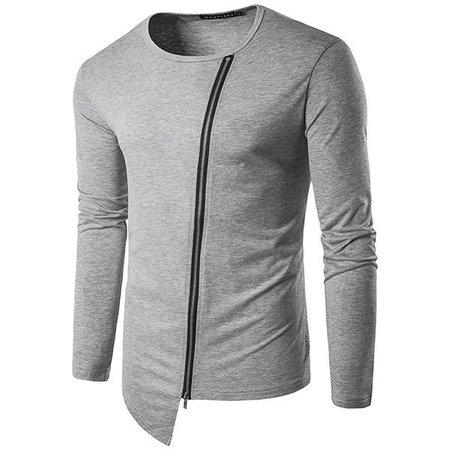 Casual Zipper Long Sleeve Crew Neck Asymmetric Solid T-shirt