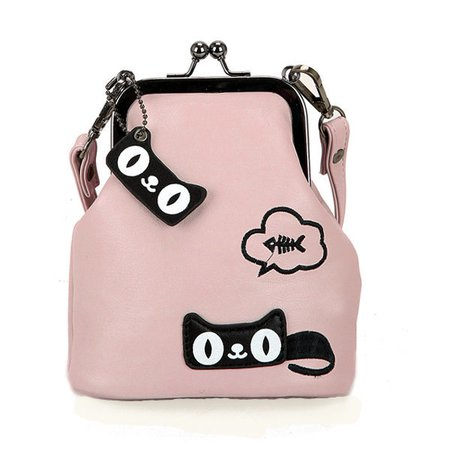 Grils Embroidery Cartoon Phone Purse Mini Crossbody Bag Hasp Coin Bag