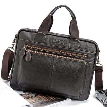 Big Capacity Business Briefcase Genuine Leather Crossbody Bag Shoulder Bag For Men