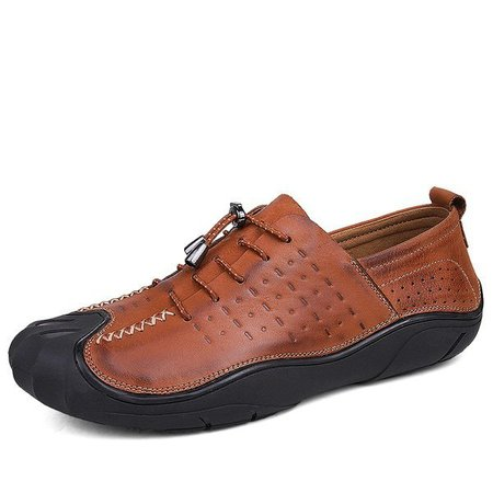 Men Vintage Genuiner Faux Leather Anti-collision Toe Soft Lace Up Shoes