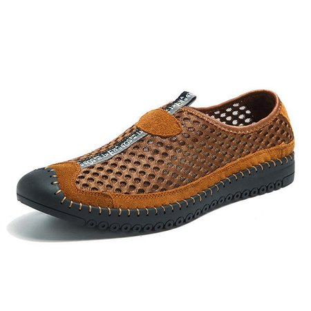Men Anti-collision Toe Hand Stitching Casual Flats Shoes