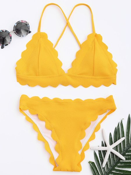 Yellow Scalloped Solid Triangle Bikini