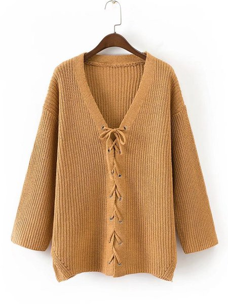 Plain Long Sleeve Knitted Lace Up Sweater