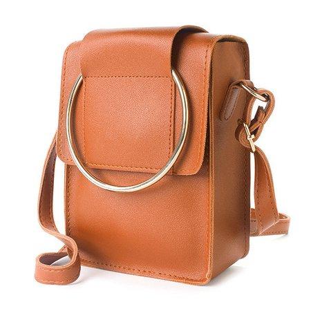 Women Square Cute PU Leather Phone Purse Mini Crossbody Dual-use Handbag
