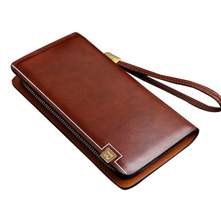 Pu Faux Leather Clutch Bag Business 8 Card Slots Wallet Phone Bag For Men