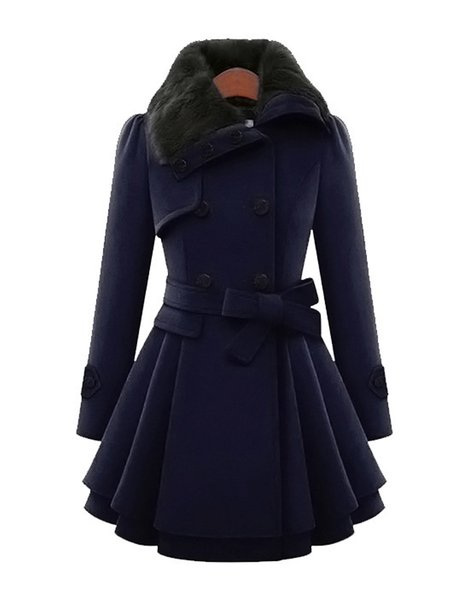 Women's Wool Coat Solid Color Fur Patchwork Warm Fleece Lined Pea ...