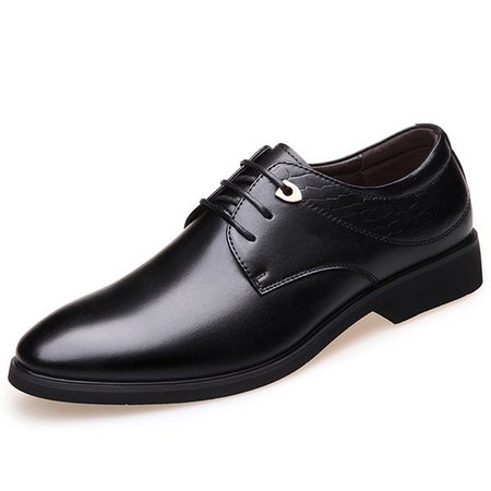 Men Pointed Toe Lace Up Faux Leather Dress Shoes