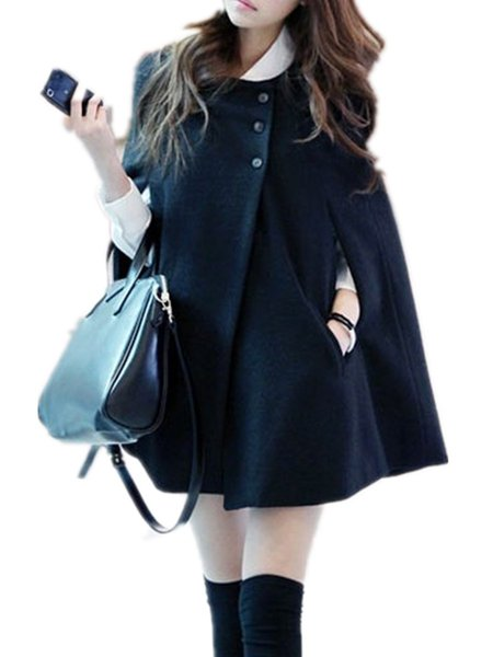 Women's Cape Coat Solid Color Solid Poncho