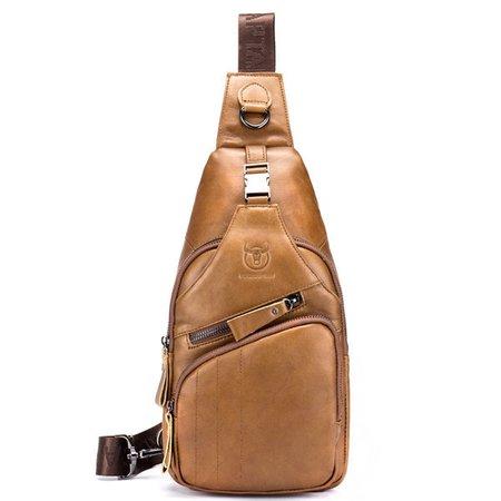 Vintage Genuine Leather Large Capacity Chest Bag  Crossbody Bag For Men