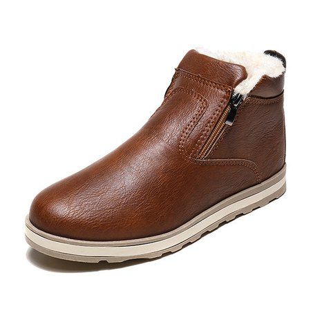Men PU Faux Leather Warm Plush Lining Side Zipper Casual Boots