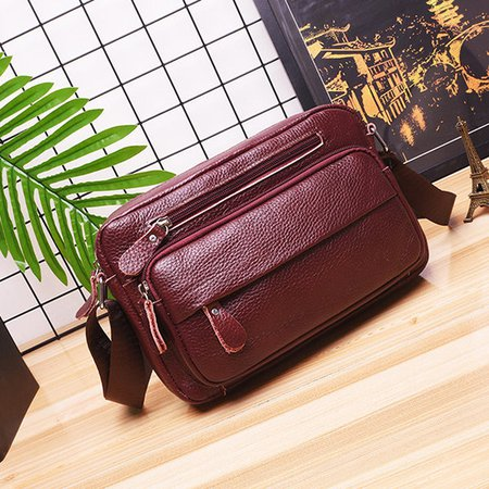 Women Genuine Leather Multi-Pocket Large Capacity Crossbody Bags