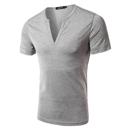 Casual Slim Fit Simple Style Cotton Solid Color Short Sleeve V-Neck T-Shirt For Men