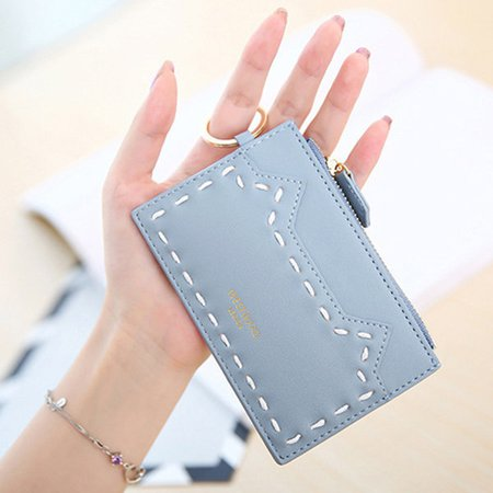 Women Cute Cat Pattern Thread Thin Short Wallet Card Holder Coin Purse
