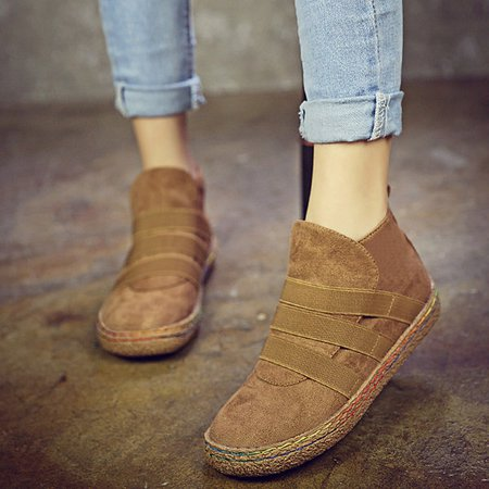Elastic Slip On Pure Color Ankle Flat European Style Boots