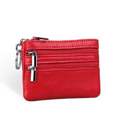 Geniune Leather Zipper Coin Wallet Bags Key Bags Card Holders Small Purse