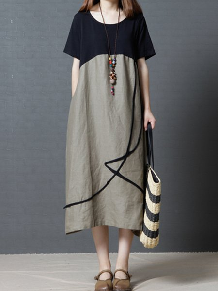 Women Casual Dress Crew Neck A-line Daily Casual Paneled Dress