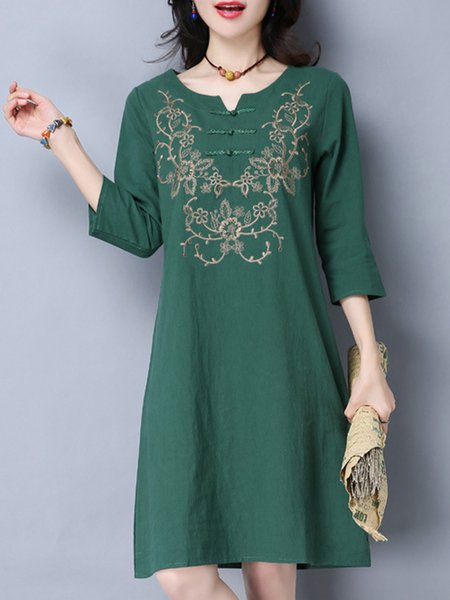 Dark Green Women Casual Dress Shift Daily Cotton Floral-embroidered Dress