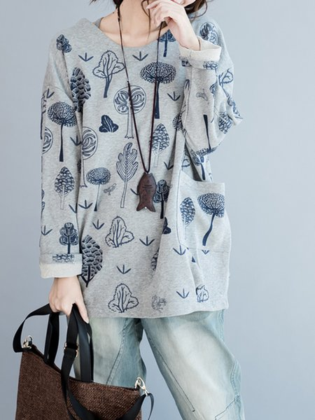 Tree Printed Long Sleeve Crew Neck H-line Sweatshirt