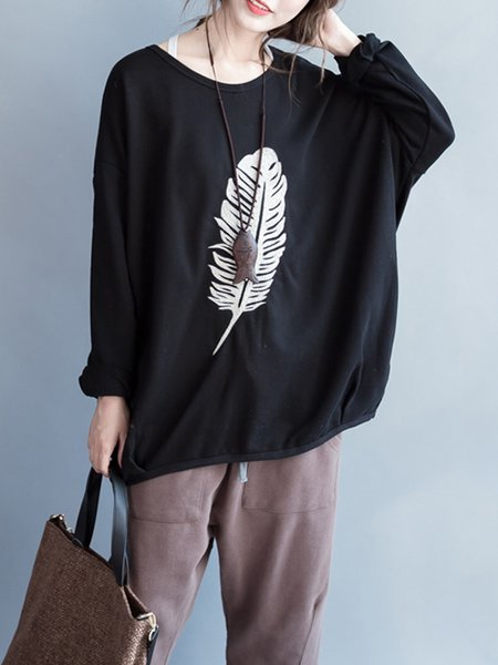 H-line Casual Batwing Feather Print Sweatshirt