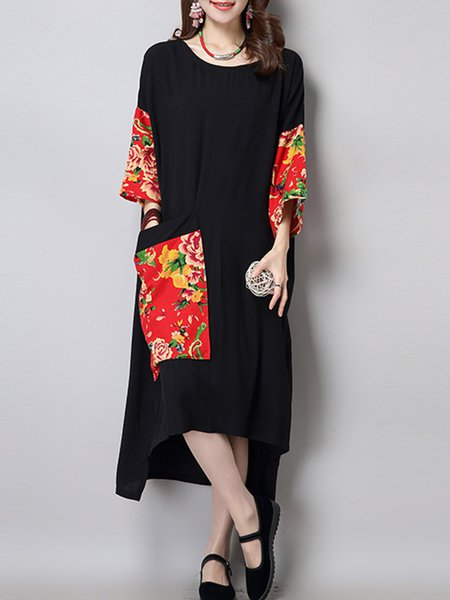 Black Women Print Dress Asymmetrical Daily Cotton Floral Dress