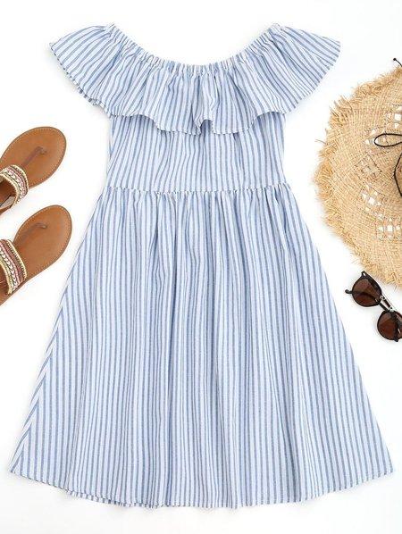 Light Blue Stripes Ruffles Off Shoulder Beach Dress