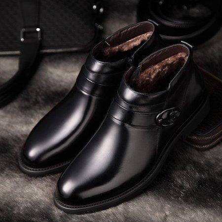 Men MicrofiberFaux Leather Plush Lining Side Zipper Casual Boots
