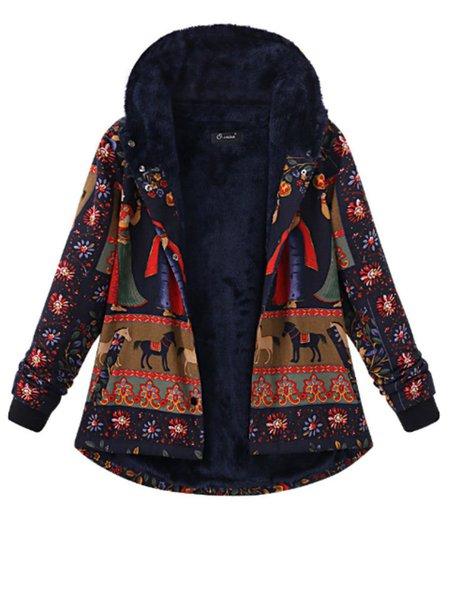 Vintage Tribal Printed Thick Fleece Lined Hoodie Coat