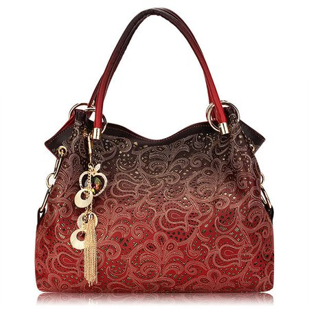 Women Chic Sequins Hollow Out PU Leather Elegant Retro Handbags Shoulder Bags