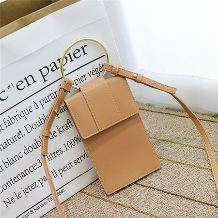 Stylish 6 Inch Phone Purse Metal Ring Handbag Crossbody Bags For Women